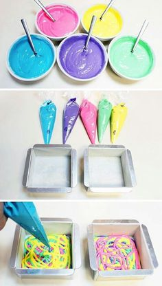 Tie die cake! White cake batter divided and colored with food coloring put into piping bags or ziploc with corner cut off.