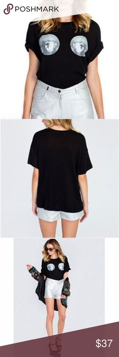 """Wildfox Disco Ball Party T-shirt Size Medium Wildfox Disco Ball Party T-shirt Size Medium  Bust 22"""" Hip 23"""" Length 23""""  All measurements taken while lying flat  051-200118 Wildfox Tops Tees - Short Sleeve"""