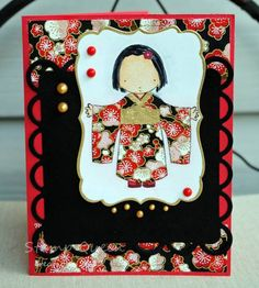 handmade card: Cherry blossum kimono by Stamp out loud ... cute girl wearing a kimono ... paper pieced kimono uses same washi print as the background ... red and black ... ornate die cut frame with gold edging on main panel ... great card!