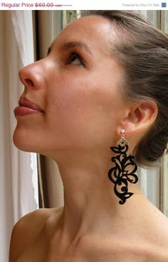 Black Leather Earrings Laser Cut by eninaj