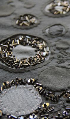 Fabric design with hand-stitched appliqué & surface embellishment using sequins & beads for pattern & texture // Alabama Chanin #textiles