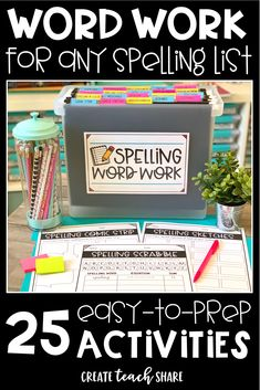 Word Work Choice and Organization! Word Work in upper grades just got easy! These activities are easy to prep and ready to go for Daily 5 word work or centers. Your kids will be learning their spelling words with tons of fun ideas! 6th Grade Ela, 4th Grade Writing, 2nd Grade Reading, Teaching Writing, Teaching Tools, Second Grade, Fourth Grade, Grade Spelling, Spelling Lists