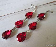 Red Earring Ruby Earring  Garnet Earring by SpiritSparkleWhimsy