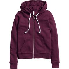 H&M Hooded jacket ($23) ❤ liked on Polyvore featuring outerwear, jackets, hoodies, sweaters, burgundy, drawstring jacket, pocket jacket, hooded jacket, cotton jacket and hooded zip jacket