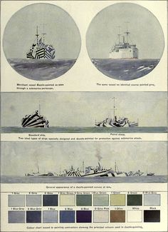 Plate from 1922 showing the dazzle camouflage method, illustrated by Norman Wilkinson (via Encyclopædia Britannica)