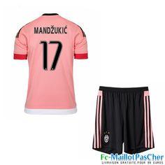 Maillot du Juventus rose Enfant MANDZUKIC 17 Exterieur 15 2016 2017