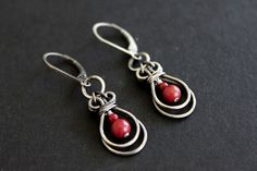Handmade sterling silver and coral earrings by Susan Pauls