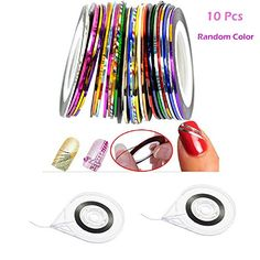 10 Pcs Mixed Color Rolls Striping Tape Line Nail Art Polish Stickers with Nail Art Tape Roller Dispenser Nail Supplies Decoration Accessories ** Check out the image by visiting the link. (This is an affiliate link) Line Nail Art, Nail Oil, Lines On Nails, Striping Tape, Nail Supply, Cute Acrylic Nails, Nail Care, Decorative Accessories, Color Mixing