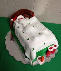Santa and Rudolph Christmas Cake! All fondant, all edible!