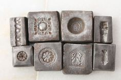 Lot Of 8 Antique Traditional Design Hand Engraved IRON DIE/MOLD for Jewelry