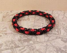 Byzantine Stretch Bracelet in Red & Black - Edit Listing - Etsy