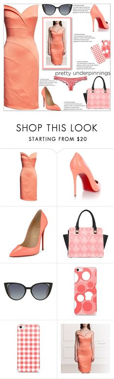 """""""The Lady In Coral"""" by atelier-briella ❤ liked on Polyvore featuring Christian Louboutin, Fendi, Roberto Cavalli, chic, Elegant and prettyunderpinnings"""