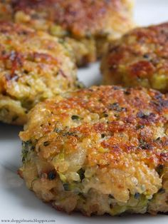 Cheesy Quinoa and Broccoli Patties recipe. I make these with mushrooms instead. Amazing!