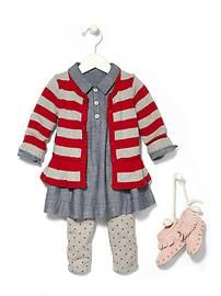 little girl style: chambray shirt dress and leggings