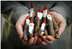 Twig Santas Christmas idea for craft sale Math Gnomes, Natural Christmas Decorations, Diy Christmas, Christmas Jingles, Handmade Christmas Decorations, Christmas Music, Woodland Christmas, Christmas Crafts For Kids, Simple Christmas