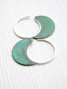 Little Urban Hoops, Verdigris - handmade copper and sterling silver earrings.