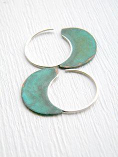 Little Urban Hoops, Verdigris - handmade copper and sterling silver earrings.