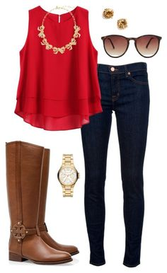 Top vermelho, jeans e acessórios camel.