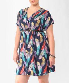 Feather Print Surplice Dress (Navy/Purple). Forever 21. $24.80