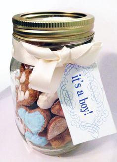 """""""It's a boy!"""" mason jar gourmet dog treat. so cute - great gift!"""
