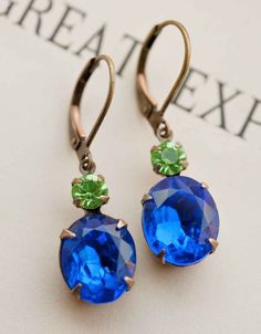 Deep Sapphire Earrings  Estate Style Vintage by NotOneSparrow, $22.00 -- YESSS, it goes with my scheme!  I would add the crystal and the gold leafing to this one as well.