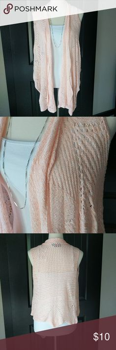 Draping sweater vest/cardigan. Summery open stitch sweater. Pinkish/peach coloring. Sweaters Cardigans