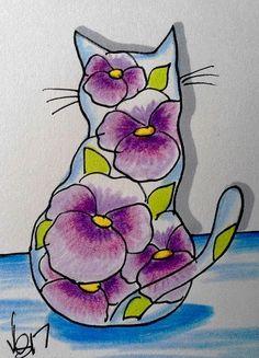 "Aceo  Original  ATC   ""PANSY CAT ""    pencil / ink #OutsiderArt"
