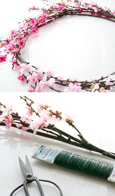 Baby Girl Shower Decoration Idea -Cherry Blossom Wreath