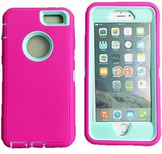 """myLife Rugged Shock Absorbing {Built In Screen Protector} Case for iPhone 6 (6G) 6th Generation Phone by Apple, 4.7"""" Screen Version {Taffy Pink and Icy Blue """"Bold Modern Colors"""" Neo Hybrid Three Piece with Layered Flex Gel SECURE-Fit Armor} myLife Brand Products http://www.amazon.com/dp/B00QJ2WA88/ref=cm_sw_r_pi_dp_4IHHub1P4C5F1"""