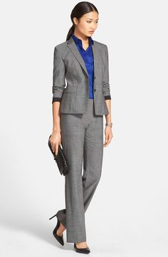 BOSS Wool Jacket, Poplin Blouse & Wool Suit Trousers