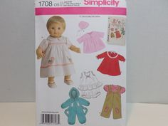 """Simplicity Baby Doll Clothes Pattern 1708 Fits 15"""" Dolls Uncut #Simplicity"""