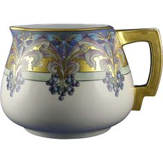 PH Leonard Austria Arts & Crafts Butterfly & Berry Motif Pitcher (Signed R. Ellitt/Dated 1912)
