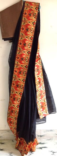 Black net kota saree with orange woven by GiaExquisiteIndian