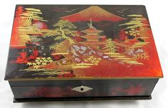 Japanese Vintage Music Jewelry Box Black Lacquer Fuji Pagoda Mother of Pearl | eBay