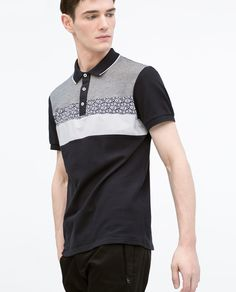 Image 2 of FABRIC INSET POLO SHIRT from Zara