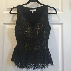 Robert Rodriguez Peplum Top Shimmery gold with lace overlay peplum top. Zip closure for a snug fit. Excellent condition! Robert Rodriguez Tops