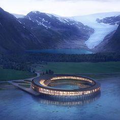 "Snøhetta's concept for the ""Svart"" hotel in Norway. Rendering © Snøhetta/Plompmozes."