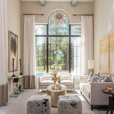 Sunny and luxe - lovely!  #livingroom #familyroom #sittingroom #interiordesign #design #interior #interiors #whiteonwhite #frenchdoors #largewindows #palladianwindow #palladianwindows #highceiling #dreamhome #luxuryhome #luxurydecor #interiordecor #luxedecor #luxedesign #luxurydesign By MasterPiece Design Group ( # @inspire_me_home_decor via @latergramme )  #SpringGreenInteriorDesign #SpringGreenDesign #SpringGreenLoves