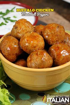 Buffalo Chicken Meatball Poppers from @SlowRoasted