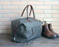 Weekender Bag Waxed Canvas Roll Top Canvas Travel Bag by AwlSnap