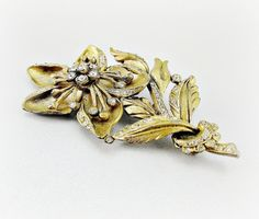 Antique Art Deco Brass Flower Brooch Pin, Large Gold Flower Brooch, Pave Rhinestone Brooch, 1930s Art Nouveau Jewelry, Great Gatsby Jewelry on Etsy, $128.00