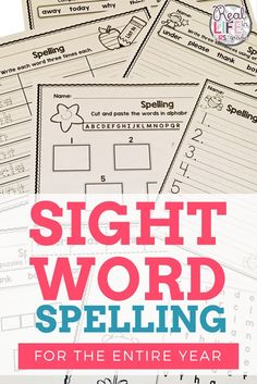 This resource has sight word practice activities for the ENTIRE school year! These printable worksheets include words from Dolch and Fry lists. Teaching first grade students to read these words is no problem- but can they spell them? Click the image to fi