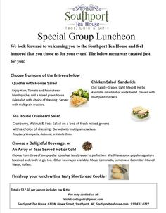 Another great Bridal Luncheon option at Southport Tea House