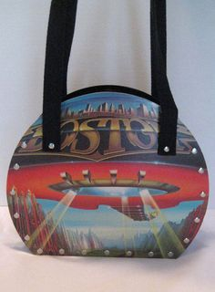 BOSTON DON T LOOK BACK VTG RETRO VINYL RECORD SHOULDER BAG PURSE TOTE  SHOPPER 28b6a75cdb107