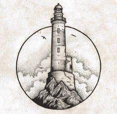 Ideas Art Drawings Black And White Ink Cool Drawings, Tattoo Drawings, Tattoo Linework, Sketch Tattoo, Lighthouse Drawing, Lighthouse Art, Art Du Croquis, Desenho Tattoo, Pen Art