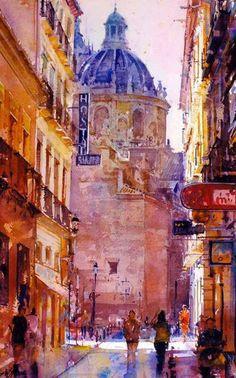 Geoffrey Wynne - Iglesia San Justo y Pastor, Granada - Watercolor