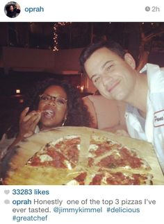 Oprah and Jimmy Kimmel enjoyed some pizza. We know O actually ate it so she made the Angry Eddie's board. We love Gale so we hope to get her on the board. Love Pizza, Eat Pizza, Human Dna, People Eating, Pizza Party, Oprah Winfrey, Famous People, Snapchat, Nom Nom