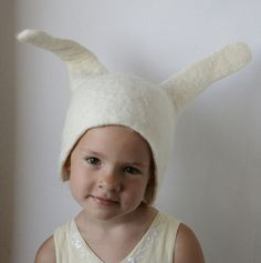 Bunny / Rabbit Hat Earflap - Hand Felted Natural White Wool -- Size Medium/Large