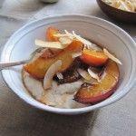 Coconut breakfast pudding with sautéed nectarines via AmyChaplin.com