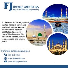 FJ Travels & Tours is providing best Hajj and Umrah Packages at very reasonable cost. You can reach them for best Hajj and Umrah package with flights. Travel Tours, Travel And Tourism, Free Travel, Islamic Posters, Islamic Quotes, Brochure Design, Flyer Design, Why Book, Istanbul Hotels
